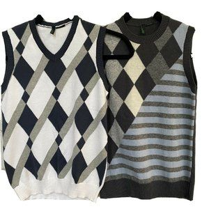 Benetton Class Boys Sweater Vest Lot of 2 Size Sma